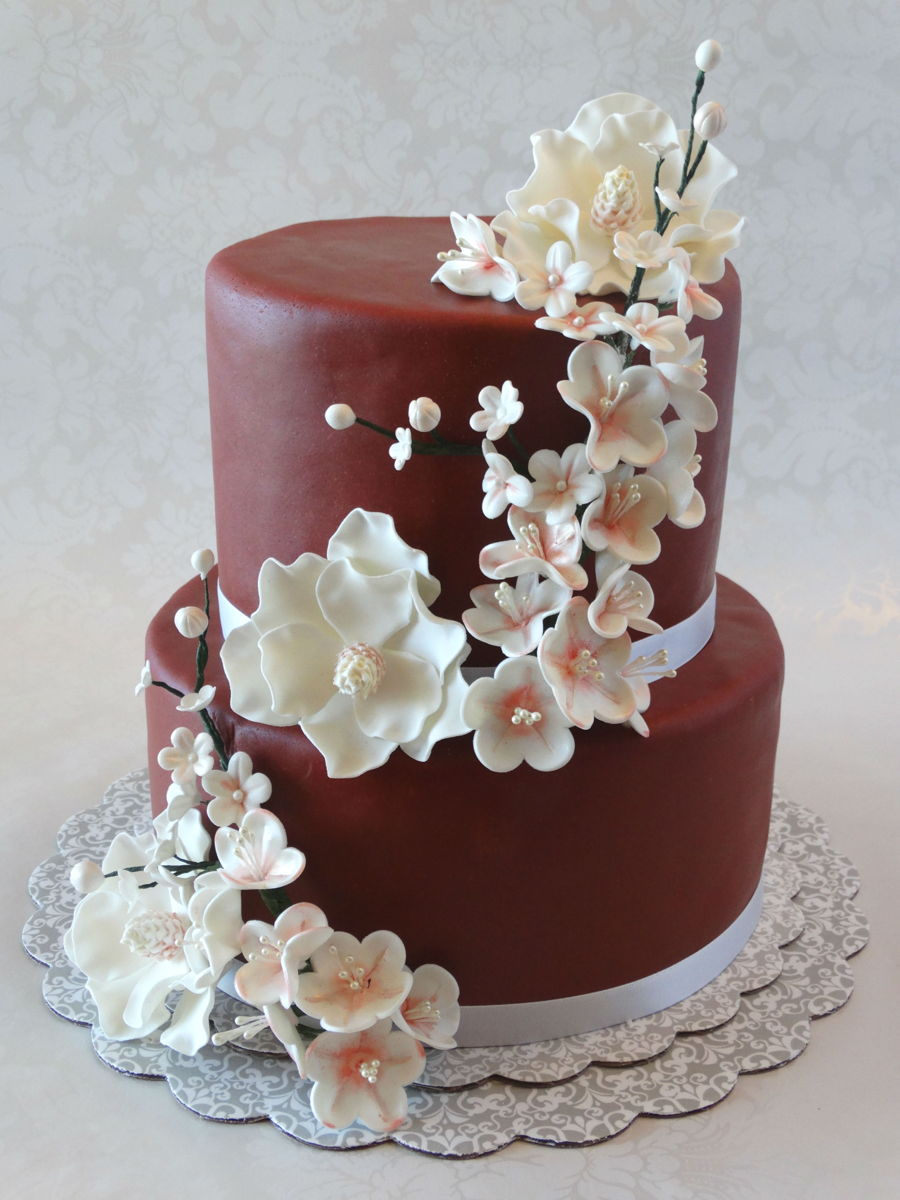 Magnolias And Cherry Blossoms on Cake Central