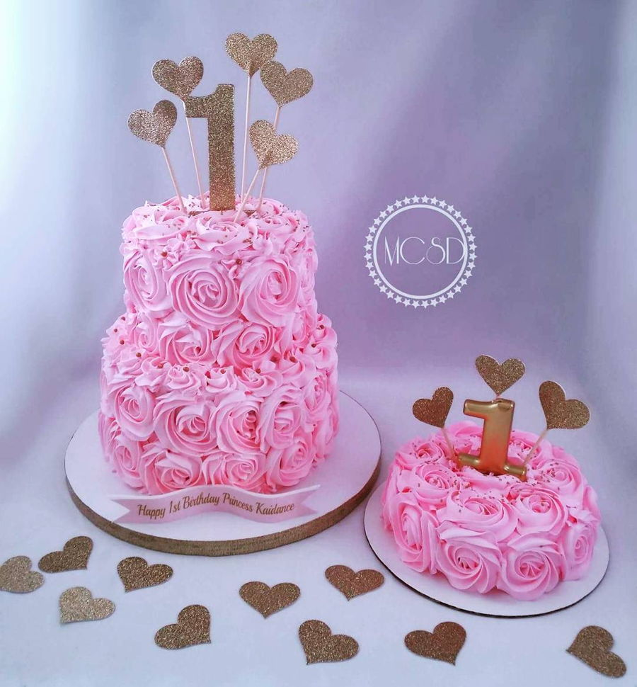 Pleasant Pink Rosette 1St Birthday Smash Cake Cakecentral Com Personalised Birthday Cards Veneteletsinfo