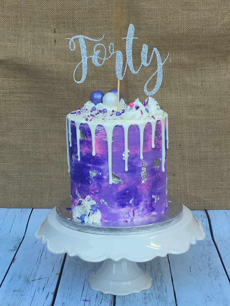 Purple Teal Birthday Cake