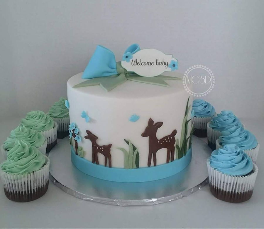 Woodland Deer Baby Shower Cake Amp Cupcakes Cakecentral Com