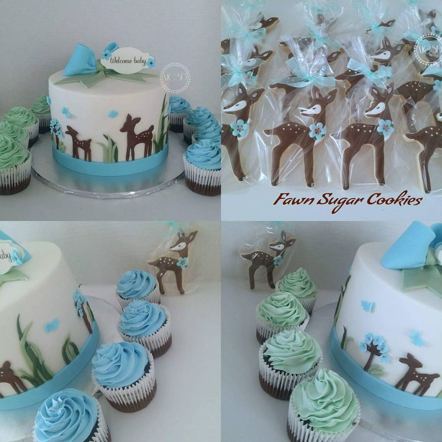 woodland deer baby shower cake cupcakes