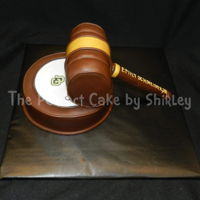 3-D Gavel Cake For Law School Graduate Customer wanted a small cake shaped like a gavel. It took me awhile to figure out what I wanted to do, and decided to do the block (I think...