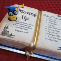 "8Th Grade Graduation Cake. Book cake with edible image and fondant ""bookworm"""