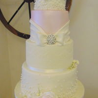 Antique Lace And Pearl Wedding Cake Antique lace and pearl wedding cake