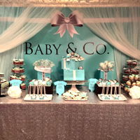 Baby And Co Sweet Table Cake. Cupcakes, strawberries, cookies, lollypops