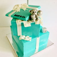 "Baby &co 10"" + 8"" squares w/ fondant sculpted teddy bear, rattle and baby block Silver achieved w/ luster dust & airbrush"