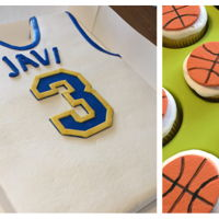 Basketball Jersey Cake With Basketball Cupcakes Basketball jersey made from torted 11x15 sheet cake. Buttercream with fondant accents. Cupcakes topped with gumpaste basketballs.