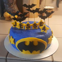 Batman Birthday Cake My first fondant cake. Chocolate cake with buttercream frosting. For my son's 4th birthday.