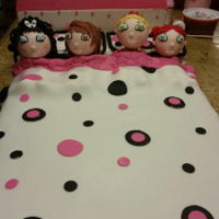 Birthday Slummber Party Lil girls sleep over birthday cake. Styrofoam heads with fondant & gumpaste.