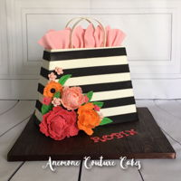 Black And White Stripe Floral Gift Bag 9.5 inches tall, 12 inches at base. Gumpaste peonies and flowers.