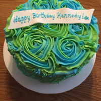 Blue And Green Rosette Birthday Cake Swirls of blue and green buttercream rosettes with gumpaste Birthday banner