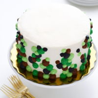 Camouflage Inspired Polka Dot Birthday Cake camouflage inspired polka dot birthday cake - fluffy chiffon cake filled with lychee and freshly whipped cream