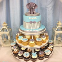 Chevron And Elephant Baby Shower Fondant sculpted elephant topper, chevron achieved w/ cookie countess stencil and airbrush
