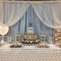 Chevron And Elephants Baby Shower Sweet Table Sweet table w, cake, cupcakes, candy covered nutter butter