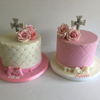 "Christening Cakes Matching christening for sisters 2 7"" cakes w/ fondant roses"