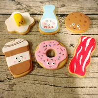 Cookies For Breakfast These cookies are part of a breakfast theme party. We have a few different kinds of design: lazy egg, bacon, coffee, donut, milk and...