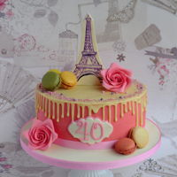 Drip Cake - I Love Paris I was requested to make cake with no fondant, just a little bit in decoration, no buttercream and it should have Eiffel Tower :) Here it is...