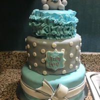 Elephant Baby Shower Cake Three tier baby boy elephant baby shower cake. Fondant covered with fondant decorations.