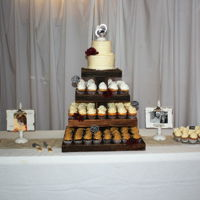 Fall Wedding A friend's daughter was married in November. She wanted a cupcake tower with a two tier cake on top. Check out my cupcake tower! My...