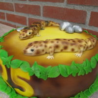 Gecko Cake Made this fondant cake toppers for a person that loves these animals and is having them at home. :-) In the past i did breed these animals...