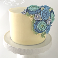 """gigi"" ""Gigi"" - Hand piped Buttercream Roses, Ranunculus, and Hydrangeas, by Kerrie Wyer."