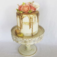Gold Drip Cake This semi naked gold drip cake with wafer flowers was for my niece' graduation