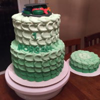 Green Ombre Petal Cake Fondant Turtle heads. Matching smash cake.