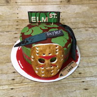Horror Cake Jason Voorhees mask modeled out of fondant/gum paste - had fun creating this one for a 22nd bday girl!