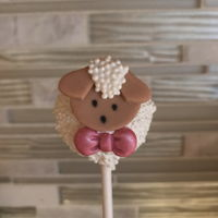 Little Lamb Cakepops Cakepops covered in white nonpareils, with fondant decorations.