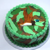 Mallard Duck - Camo Cake hand painted fondant duck on American Buttercream camo cake.