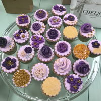 Mini Flower Cupcakes Purple and gold flower cupcakes