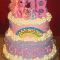 My Little Pony My little pony cake with toy figurines and buttercream