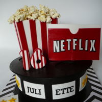 Netflix And Popcorn Netflix and popcorn cake for Juliette.