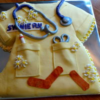 Nurse Graduation Cake Fondant covered nurse scrubs. All fondant decorations. My first attempt using fondant on all of cake, and my first attempt making...