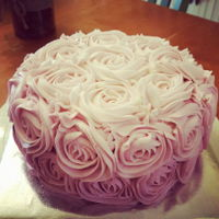 Ombre Rossette Cake Chocolate cake with vanilla buttercream. Ombre rosettes
