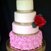 Ombre Wedding Cake I love this sweet and simple wedding cake in ivory to pink ombre design.