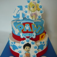 Paw Patrol Paw Patrol cake for Frederique, 4 years old. Details are fondant and edible images.