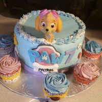 Paw Patrol Skye Cake I Made this Skye & Everest inspired birthday cake for a friends daughters 7th birthdayThe cupcakes are pink lemonade with buttercream...