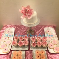 Pink & Gold Theme Dessert Party Peony flowers