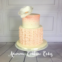 Pink Ruffle Cake 8 and 6 inches