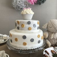 Polka Dot Baptism Cake Fondant covered two tiered cake with fondant polka dots.