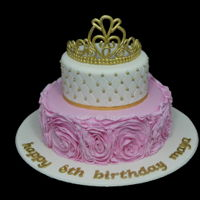 Princess Rose Ruffle Cake 9 and 6 inch chocolate mud cake with all fondant decorations and handmade fondant crown
