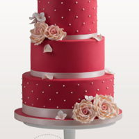 Raspberry Red Wedding Cake Dramatic red wedding cake with champagne colored roses, swiss dots and a double barrel tier.