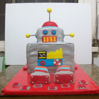 Robot Cake vanilla & chocolate cake covered in fondant and sprayed with silver