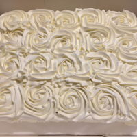Rosette Bridal Shower Cake Simple white rosette sheet cake for bridal shower.