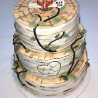 Rustic Birch Bark Wedding Cake This is a 3-tiered cake covered in fondant to look like birch bark. It was down coated uding various petal dust colors in an afford to...