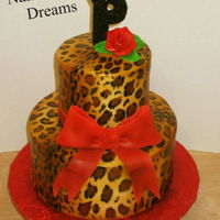 Sexy Leopard Print airbrushed and handpainted leopard print with red accents.