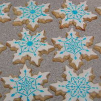 Snowflake Cookies NFSC roll out sugar cookies, with royal icing stencils