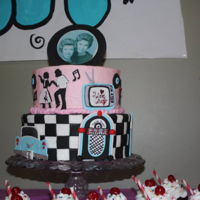 "Sock Hop Cake A cake I made for my mom and her twin sister's 75th ""Sock Hop"" themed birthday party. I thought this was going to be one of..."