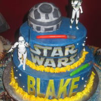Star Wars Star Wars cake with edible image ships, Rice Krispie Death Star, plastic storm troopers